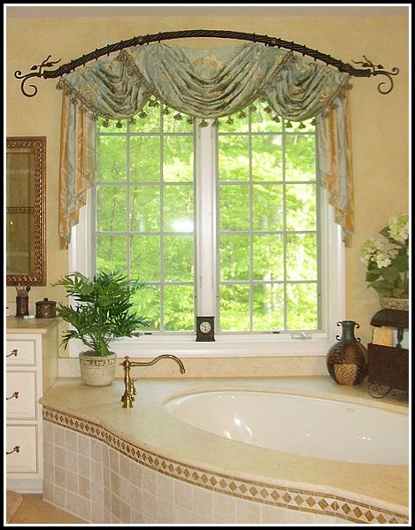 Bay window curtain rod system curtains home design for Arched bay windows