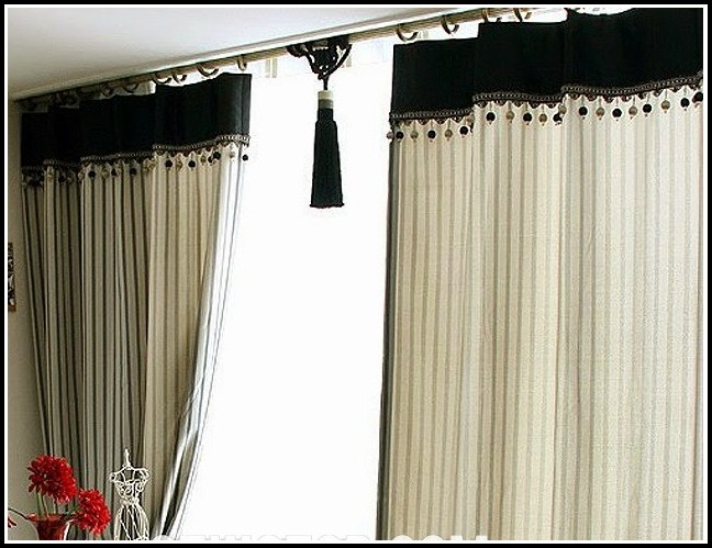 Black And Beige Kitchen Curtains