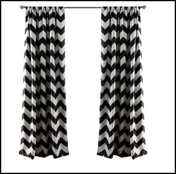 Black And White Chevron Blackout Curtains