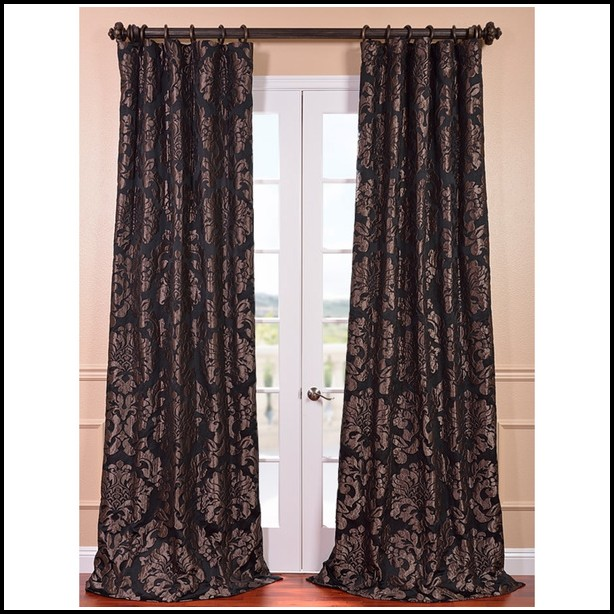 Black And White Damask Blackout Curtains
