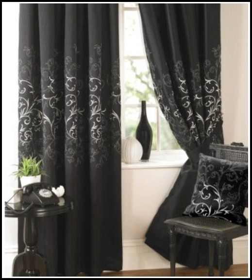 Black And White Damask Window Curtains