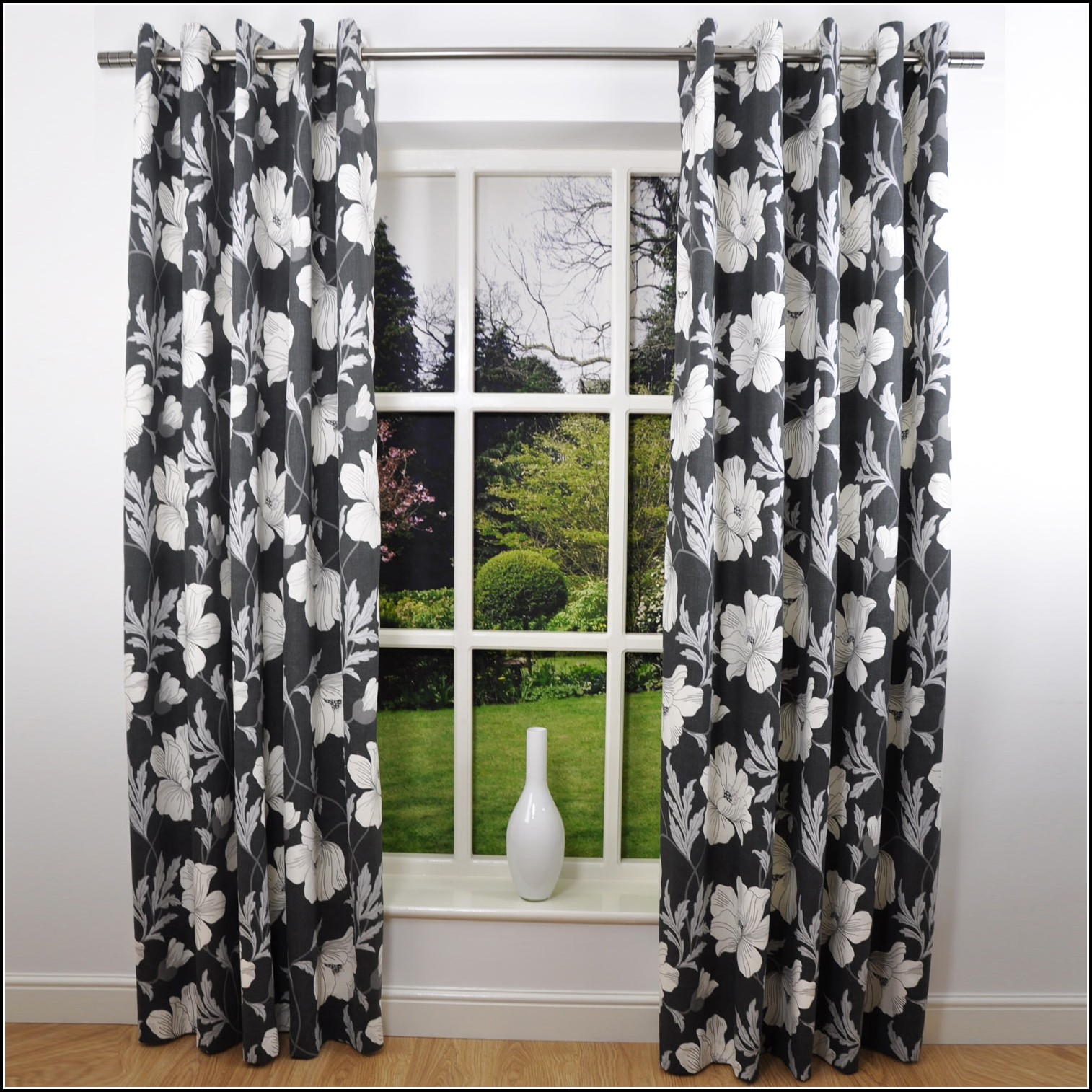 Black And White Floral Curtains Uk Curtains Home