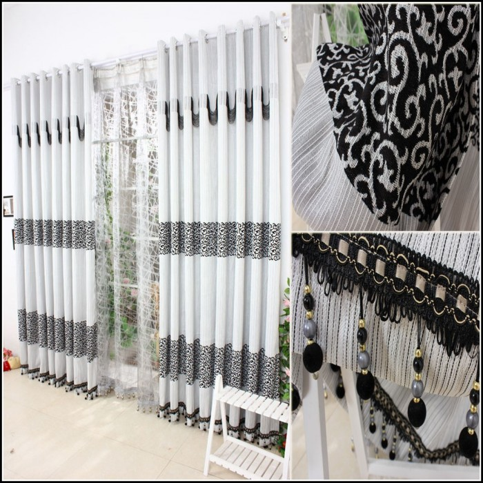 Black And White Striped Bedroom Curtains