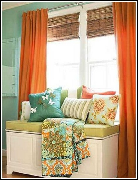 Blue Green And Orange Curtains