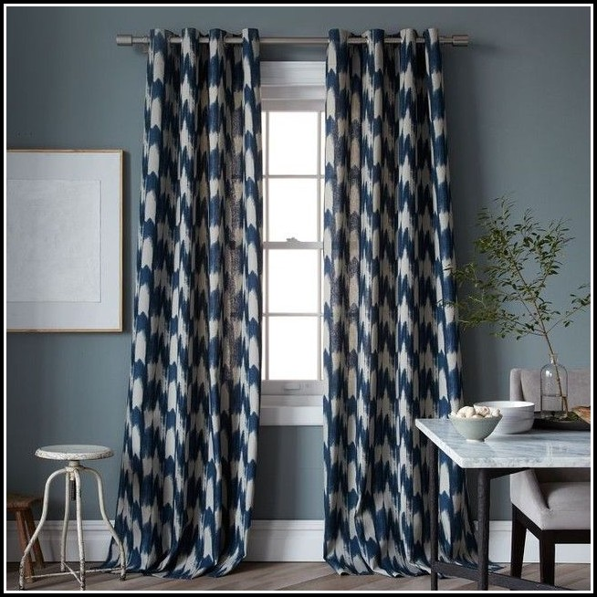 Blue Ikat Curtain Panels