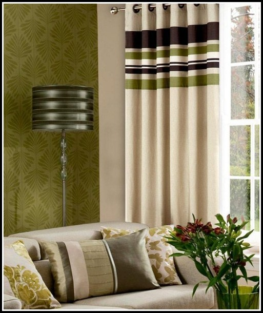 Brown And Green Floral Curtains