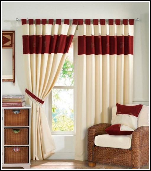 Brown And Red Flower Curtains