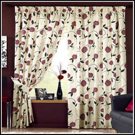 Brown Beige And Red Curtains