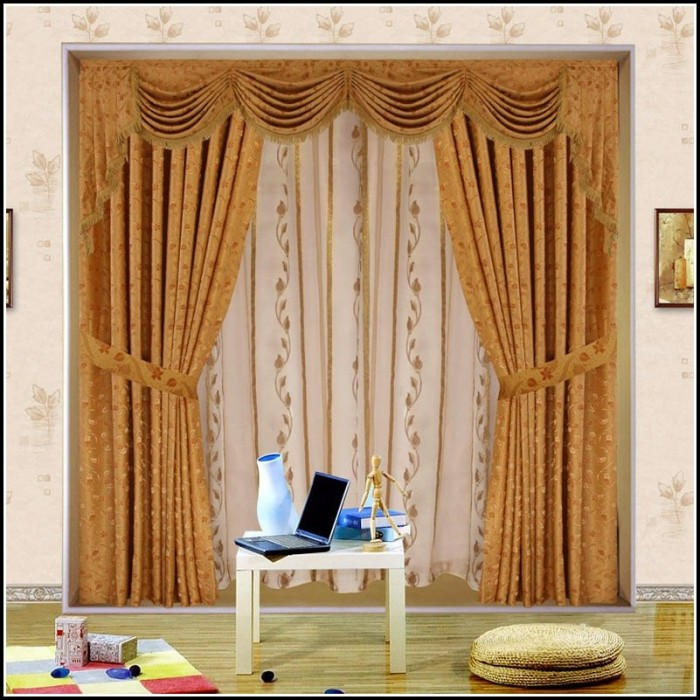Brown Sheer Curtains With Valance