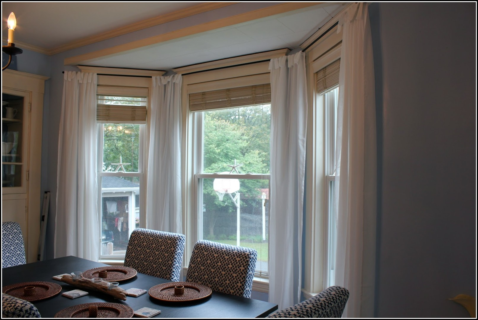 Double Curtain Rod Bay Window Curtains Home Design
