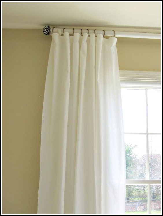 double curtain rod set white