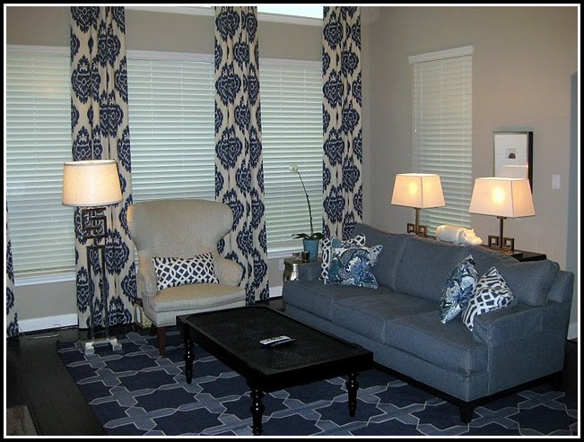 Gray And Blue Ikat Curtains