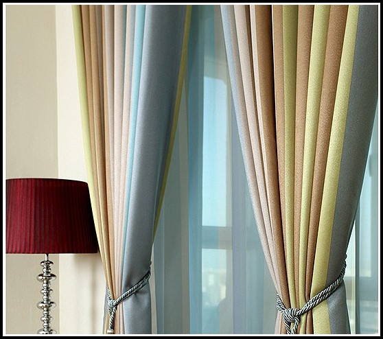 Green And Grey Striped Curtains