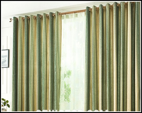 Green And Yellow Striped Curtains