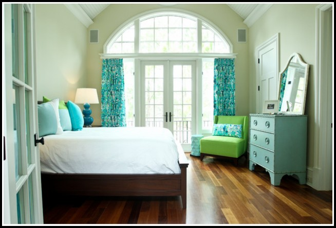 Green Walls And Blue Curtains