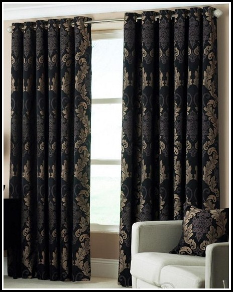 Grey And Black Damask Curtains