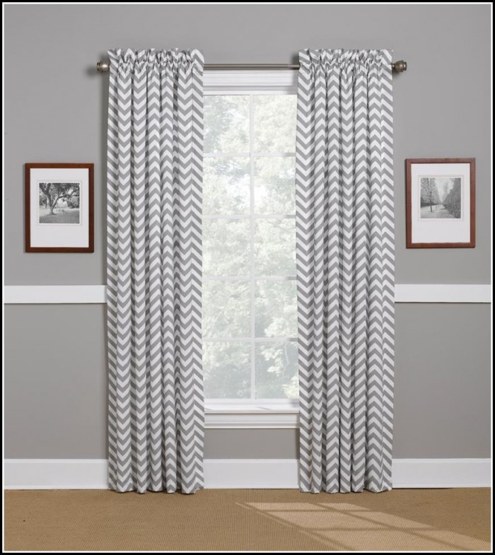 Light Grey And White Chevron Curtains