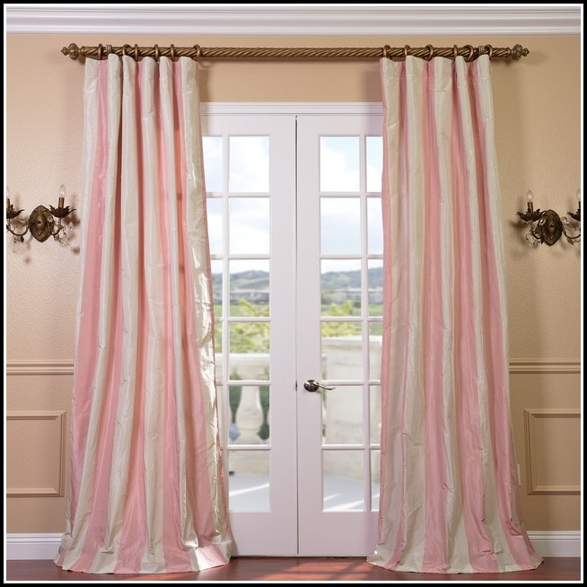 Light Pink And White Striped Curtains