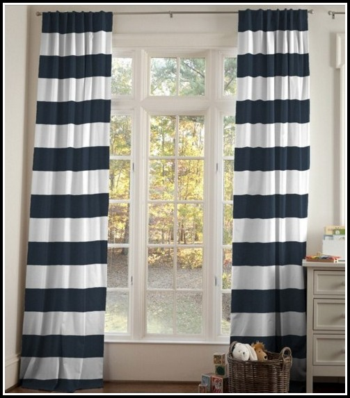 Navy And White Striped Curtain Panels