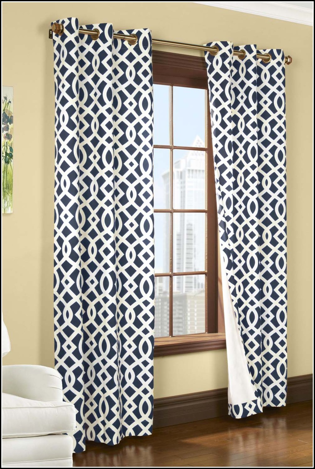 Navy And White Trellis Curtain Panels