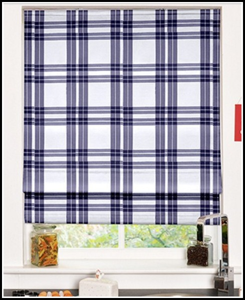 Navy Blue And White Checked Curtains