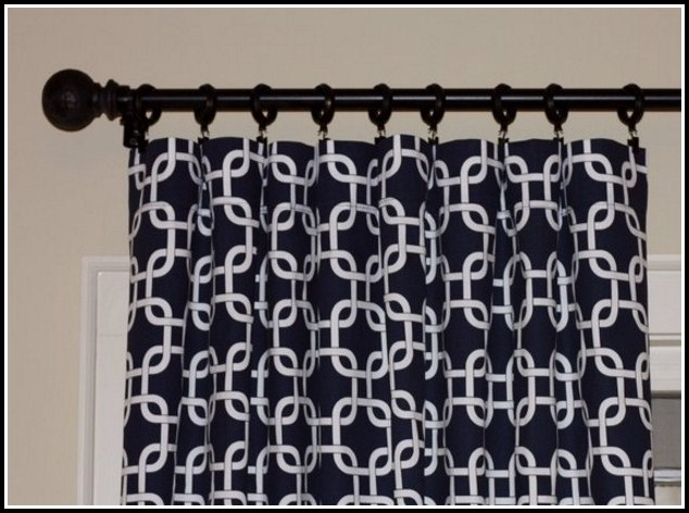 Navy Blue And White Striped Curtain Panels