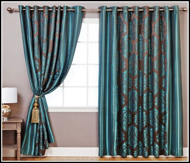 Next Soft Teal And Gold Damask Curtains