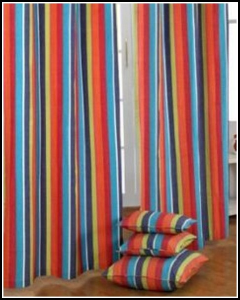 Orange And Blue Striped Curtains