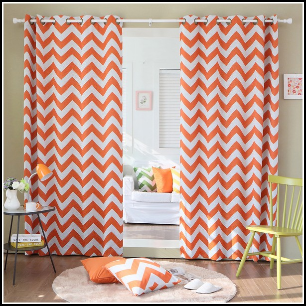 orange and gray curtains - photo #10