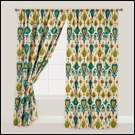 Orange And Green Floral Curtains