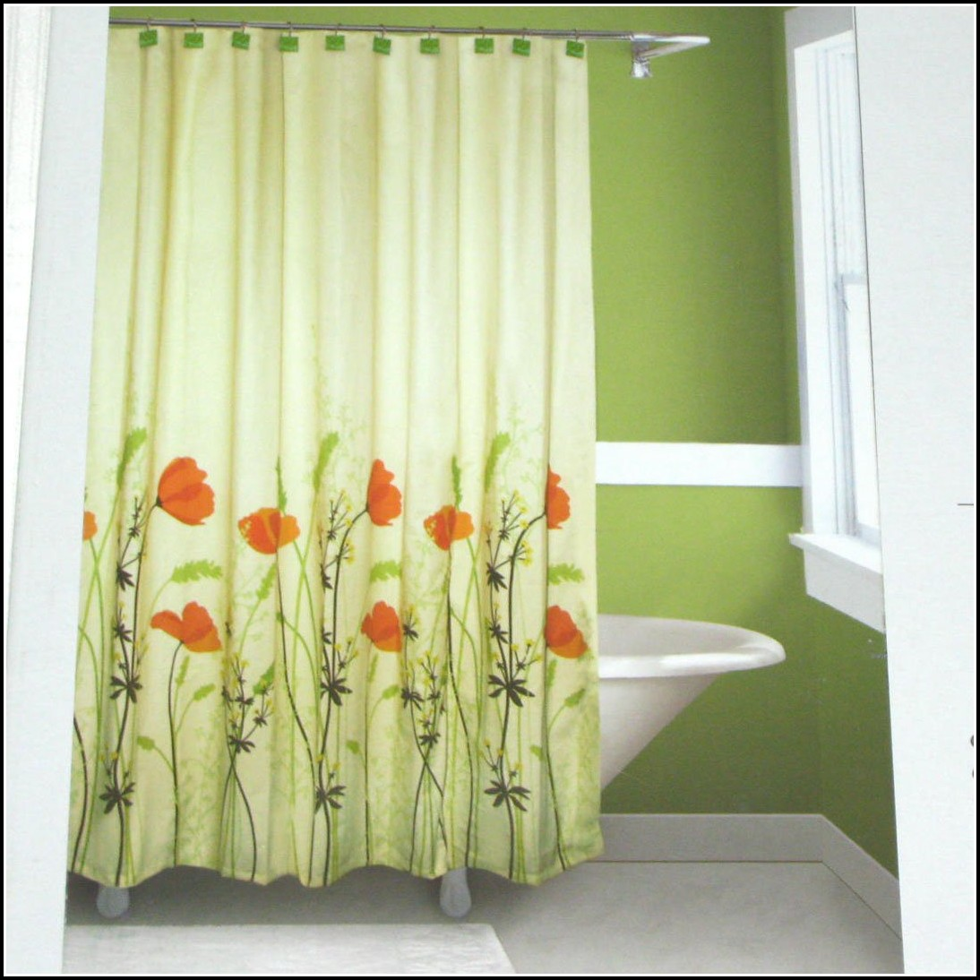 Orange And Green Shower Curtains