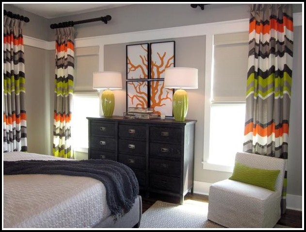 Orange And Green Striped Curtains