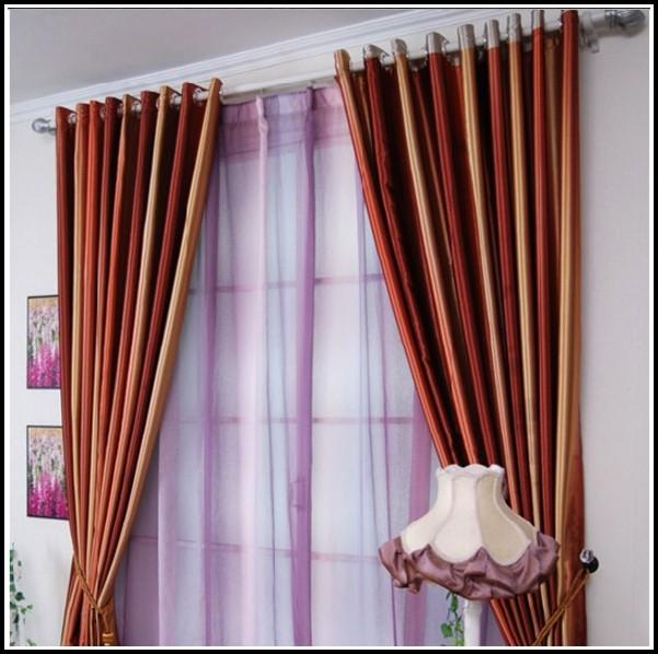 Orange Cream And Brown Curtains