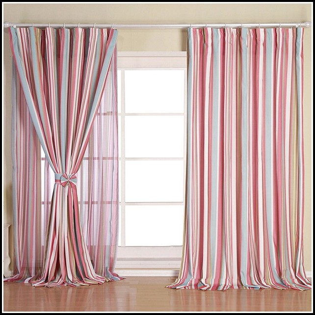 Pink And White Vertical Striped Curtains