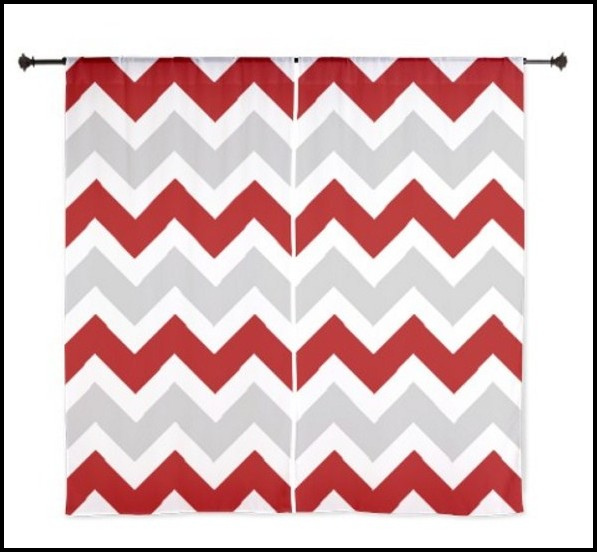 Red And Grey Chevron Curtains
