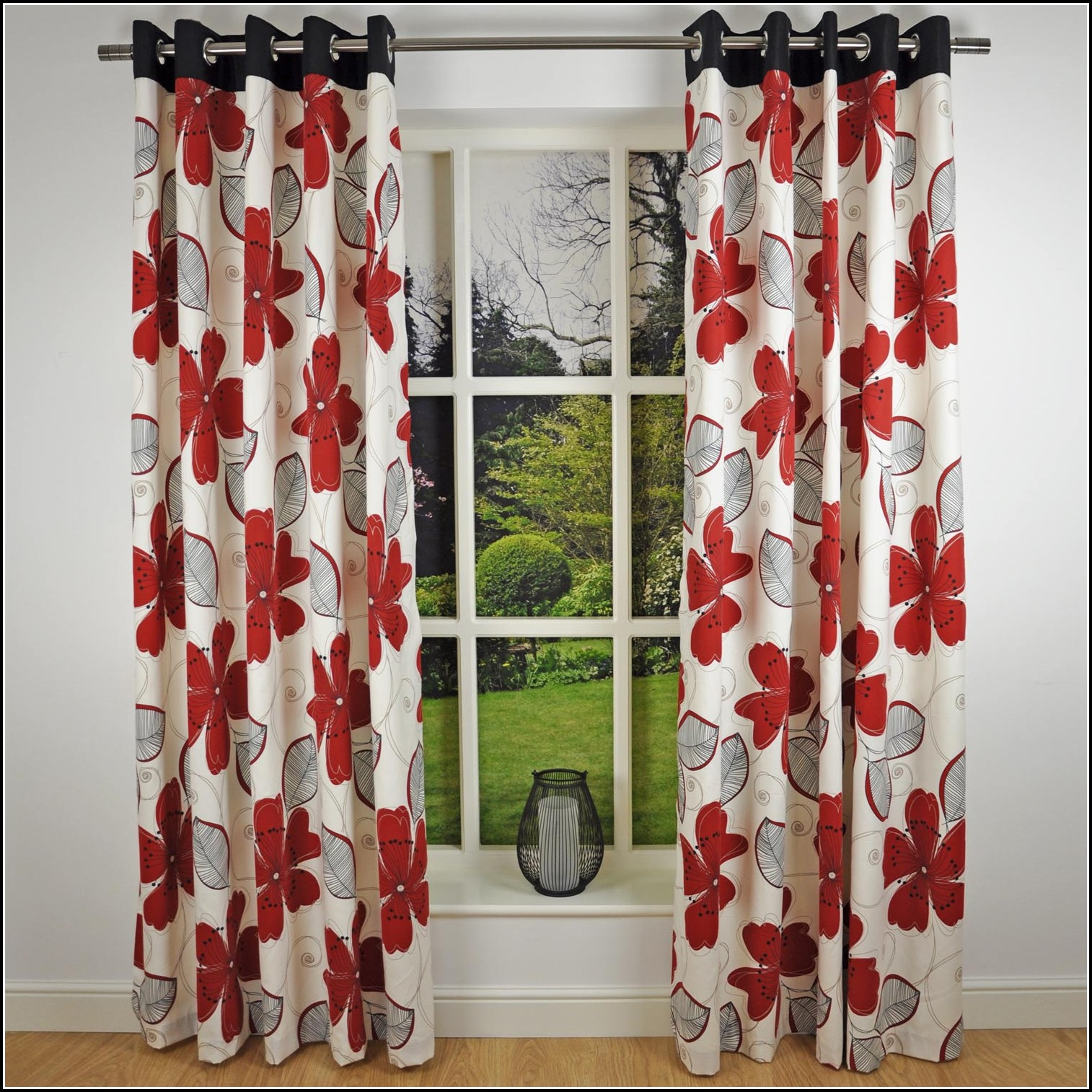 Red And Grey Eyelet Curtains Download Page Home Design