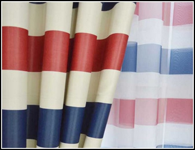 Red Blue White Striped Curtains