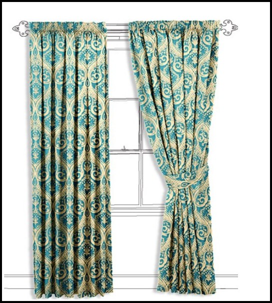 Soft Teal And Gold Damask Curtains