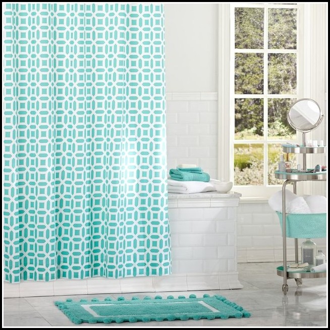 Teal And Black Eyelet Curtains