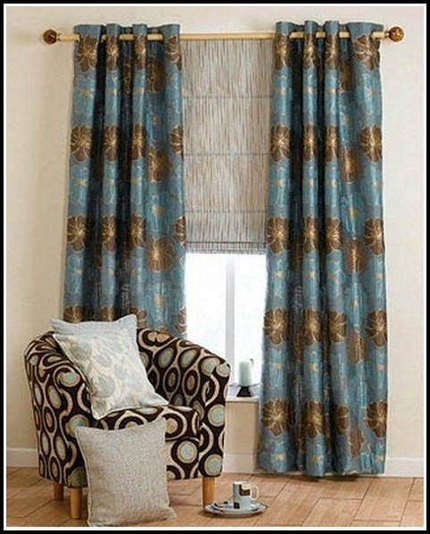 Teal And Brown Floral Curtains