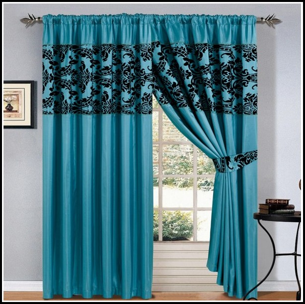 Teal And Gold Damask Curtains