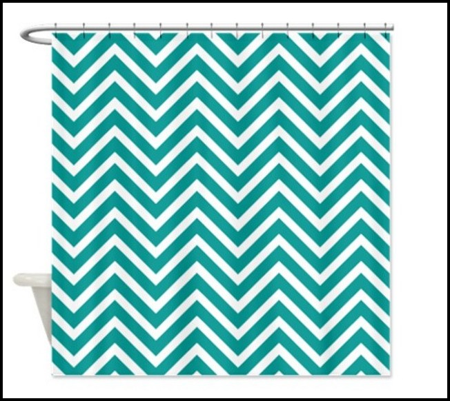 Teal And White Chevron Curtains