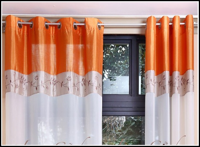 White And Orange Voile Curtains