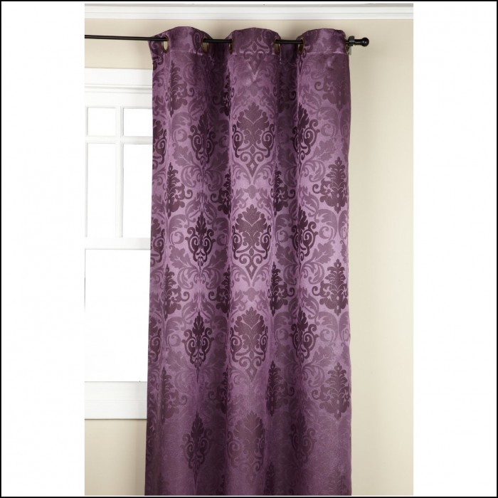 White And Purple Voile Curtains