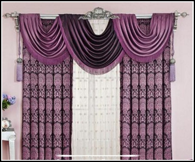 White And Purple Window Curtains