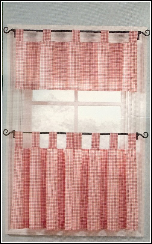 White And Red Voile Curtains