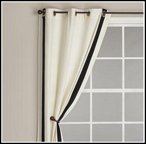 White Curtains With Black Ribbon Trim