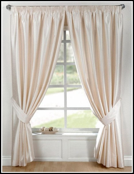 White Faux Silk Grommet Curtains