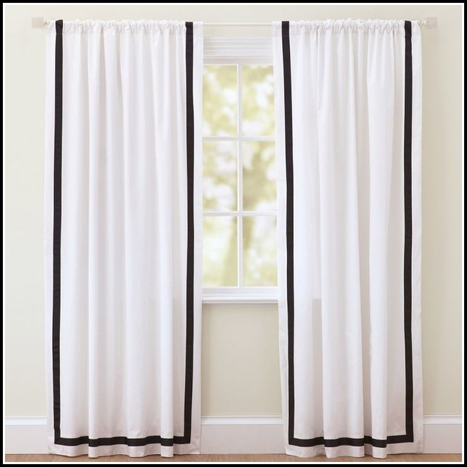 White Kitchen Curtains With Black Trim