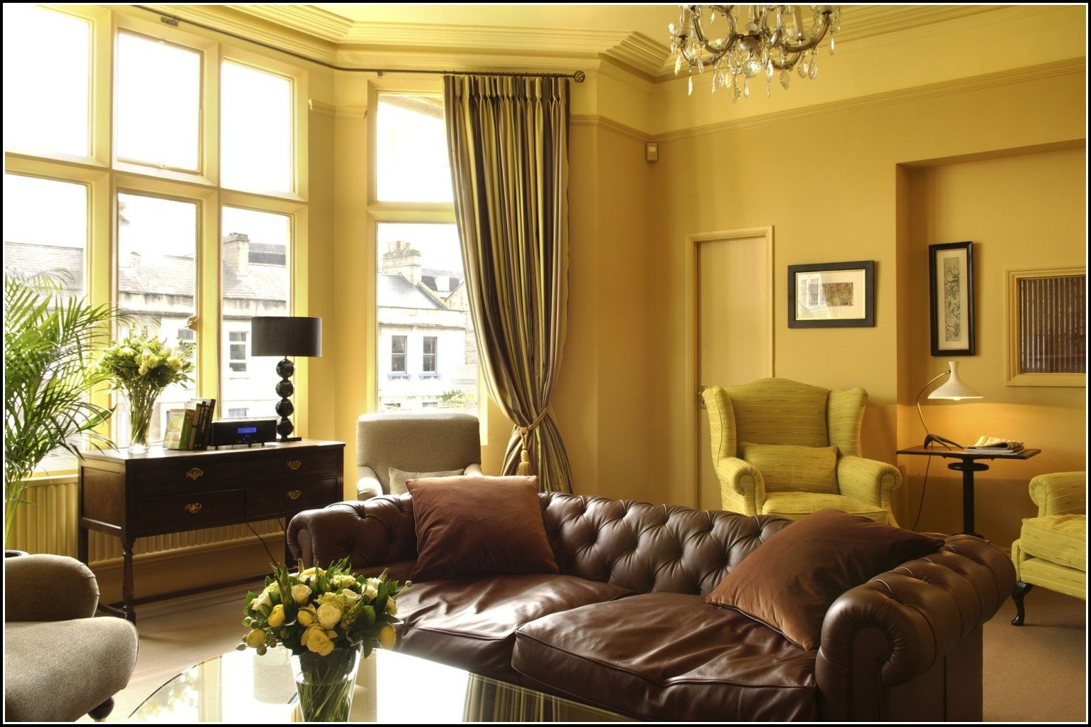 Yellow curtains for living room